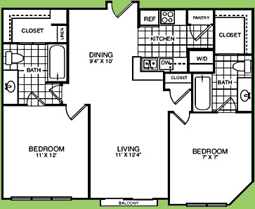 927 sq. ft. B2BR floor plan