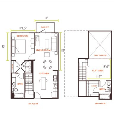 531 sq. ft. E2 floor plan