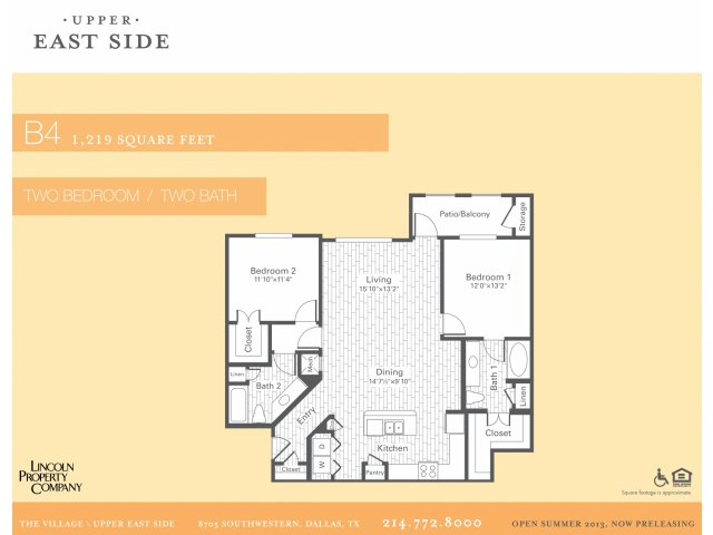 1,219 sq. ft. B4 floor plan