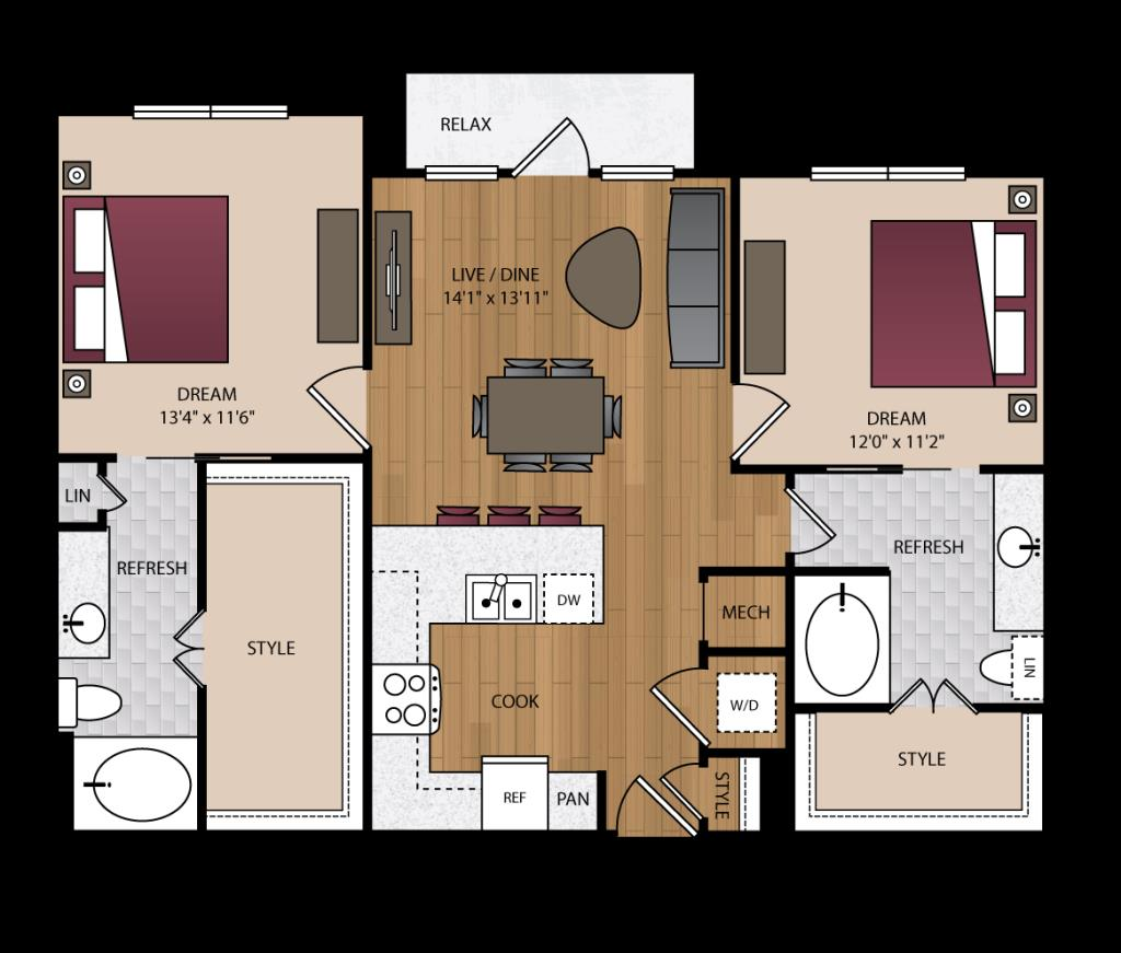 1,075 sq. ft. B1.2 floor plan