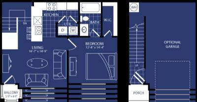 743 sq. ft. Caldera floor plan
