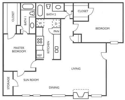 1,074 sq. ft. King Ranch floor plan