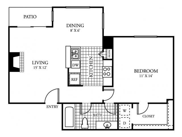 685 sq. ft. C floor plan