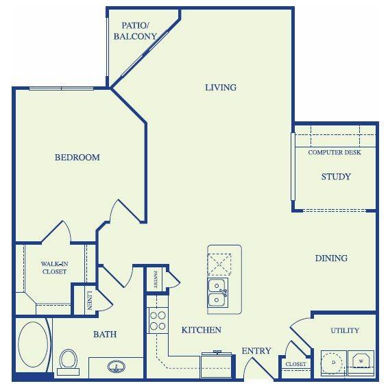 1,061 sq. ft. B2 floor plan