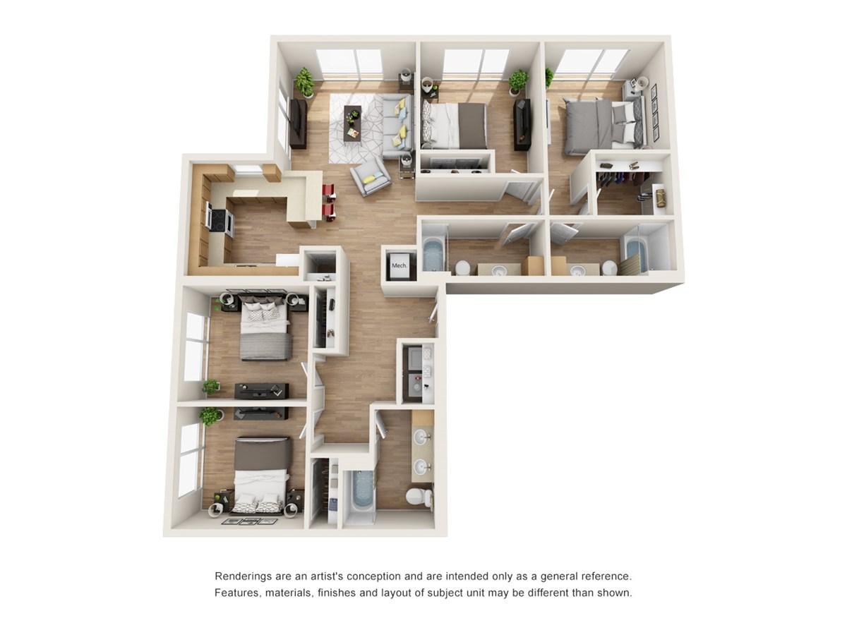 1,582 sq. ft. D3 floor plan