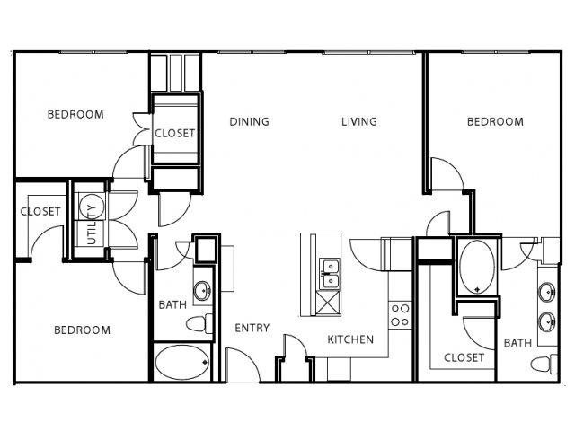 1,404 sq. ft. C1-E floor plan