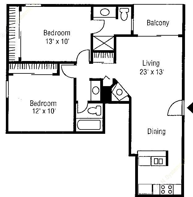 932 sq. ft. Chenin Blanc floor plan