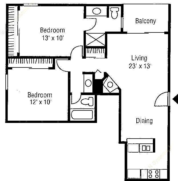 932 sq. ft. B1 floor plan