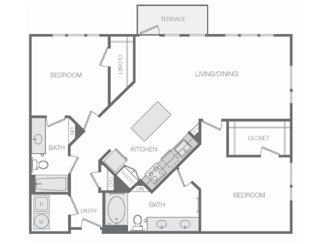 1,268 sq. ft. to 1,462 sq. ft. Mkt floor plan