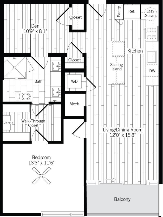 905 sq. ft. 1K floor plan