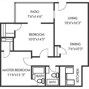 970 sq. ft. B floor plan