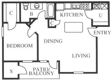 712 sq. ft. A1/A1r floor plan