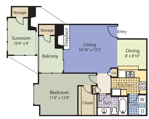 845 sq. ft. Lilestone Terrace floor plan