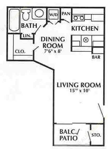 400 sq. ft. C2 floor plan