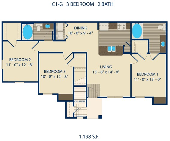 871 sq. ft. FULLER floor plan