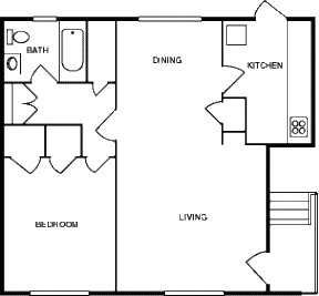 683 sq. ft. floor plan