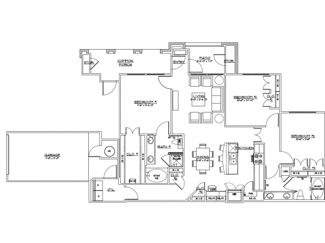 1,366 sq. ft. C1.2 floor plan