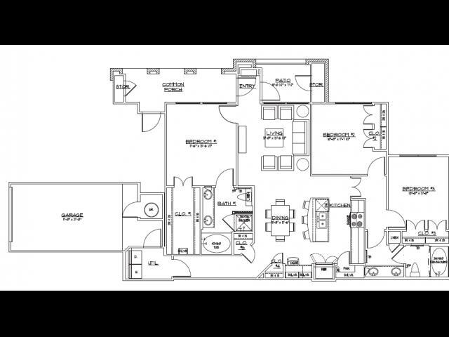 1,366 sq. ft. C1.2 floor plan