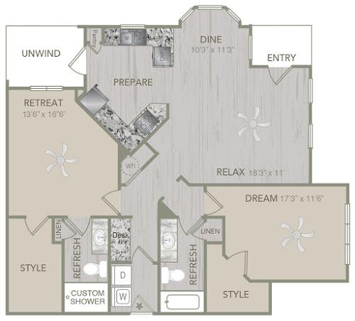 1,327 sq. ft. B6 floor plan