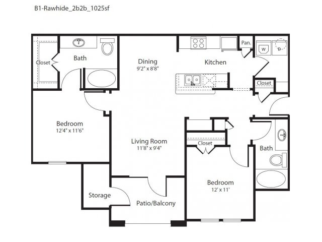 1,025 sq. ft. Rawhide floor plan