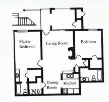 875 sq. ft. B floor plan