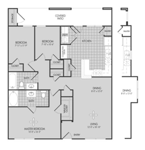 1,213 sq. ft. Willow/60% floor plan
