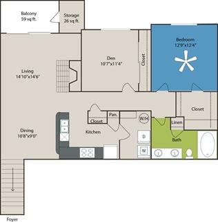 1,114 sq. ft. B1 floor plan