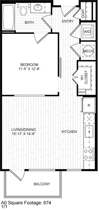 674 sq. ft. A0 floor plan