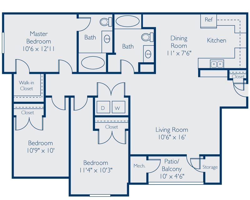 1,313 sq. ft. C floor plan