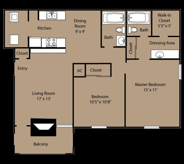 954 sq. ft. B2A floor plan