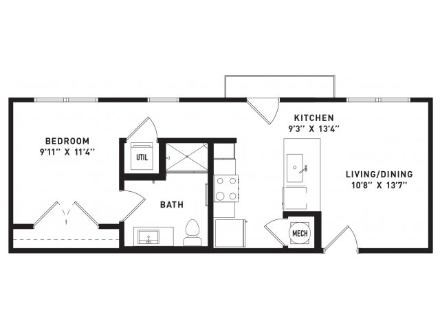 560 sq. ft. E4 floor plan