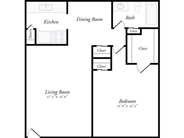 675 sq. ft. Catalonia floor plan