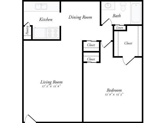 675 sq. ft. Catalonia floor plan