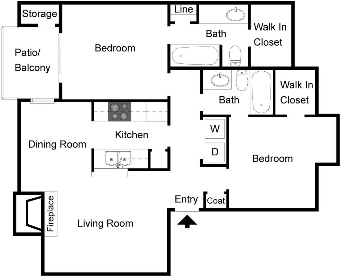 988 sq. ft. B2 floor plan
