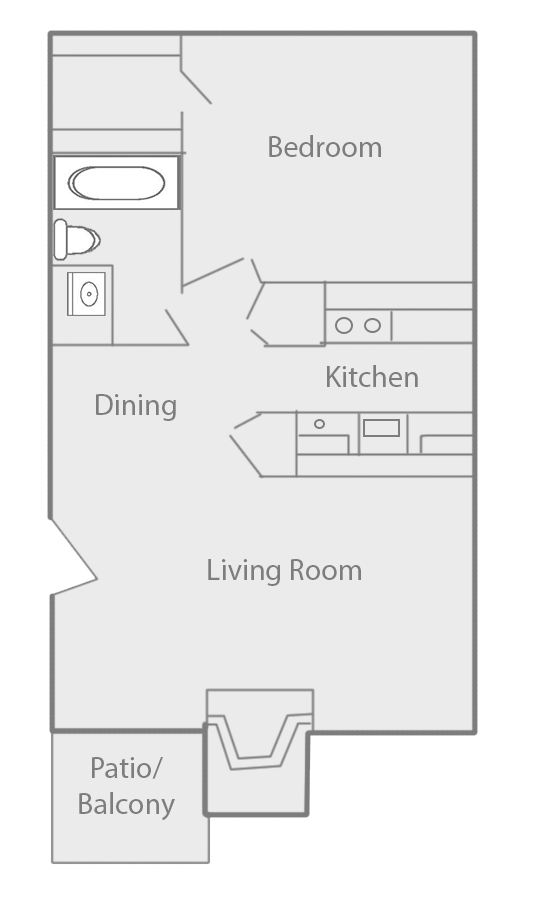 550 sq. ft. B floor plan