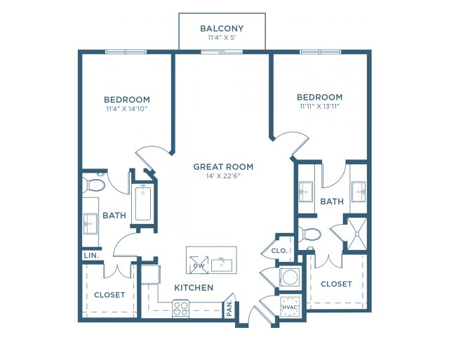 1,205 sq. ft. B3 floor plan