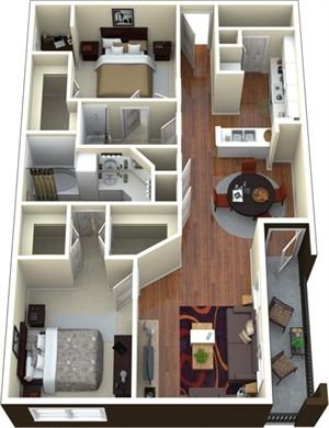 1,211 sq. ft. F1 floor plan