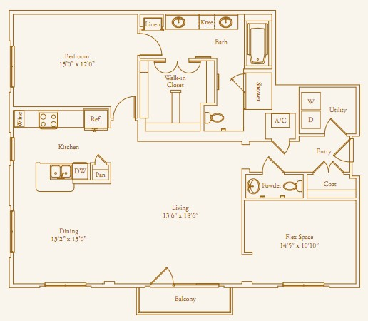 1,519 sq. ft. Brentwood floor plan