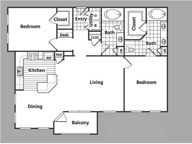 1,247 sq. ft. E floor plan