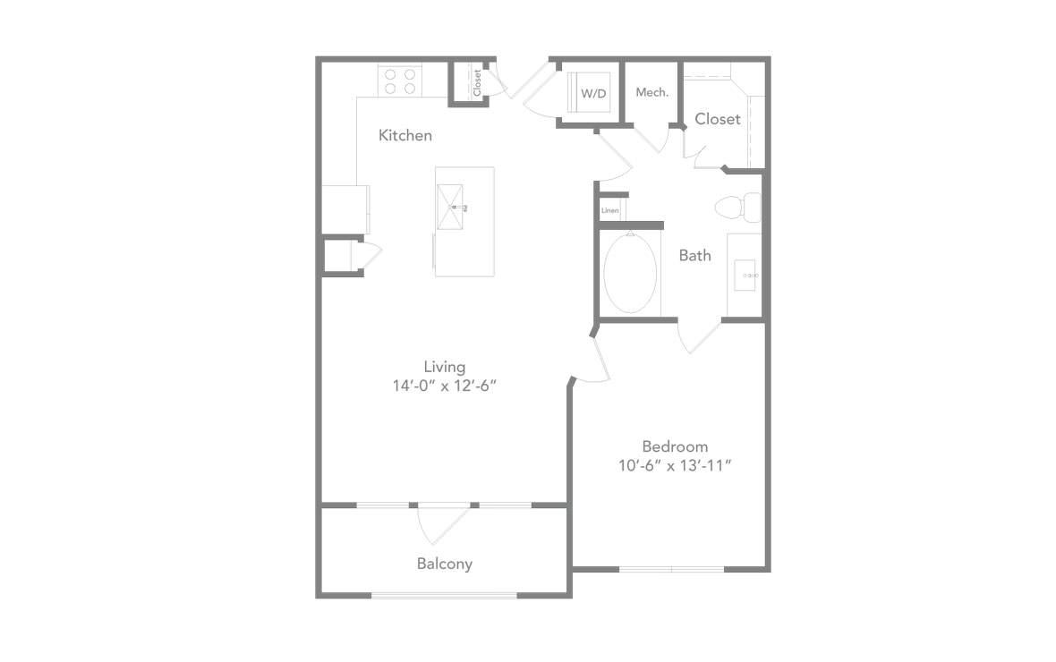 714 sq. ft. A2 floor plan