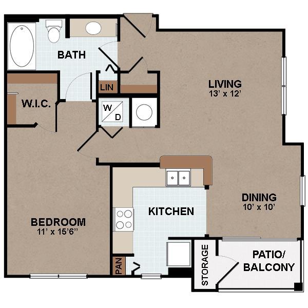 794 sq. ft. A1-60% floor plan