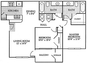 951 sq. ft. Belmore floor plan