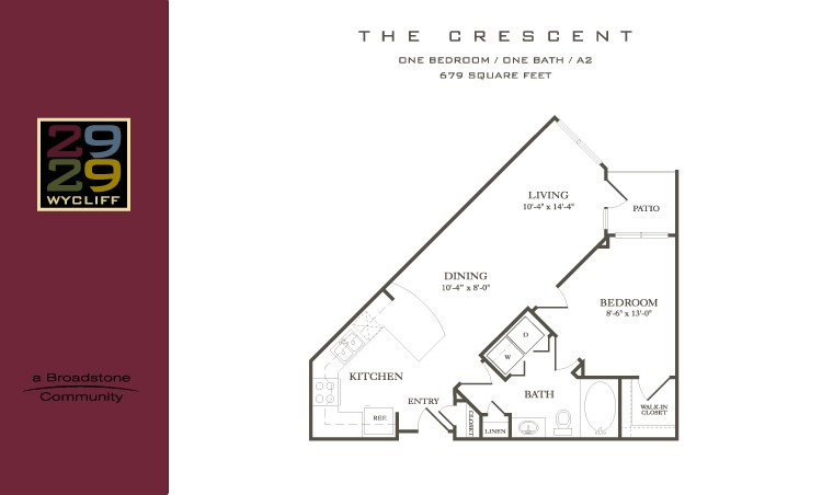 679 sq. ft. Crescent floor plan