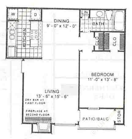 810 sq. ft. Aspen floor plan