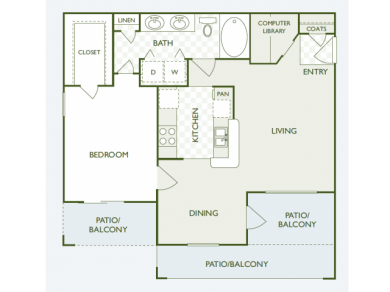 802 sq. ft. A3 floor plan