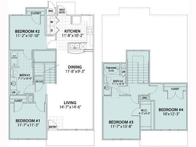 1,479 sq. ft. Acacia 60% floor plan
