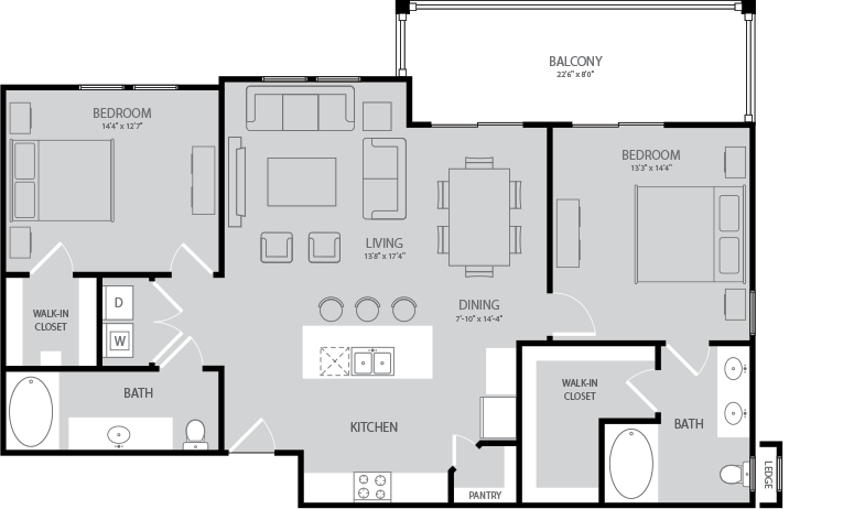 1,249 sq. ft. Poe floor plan