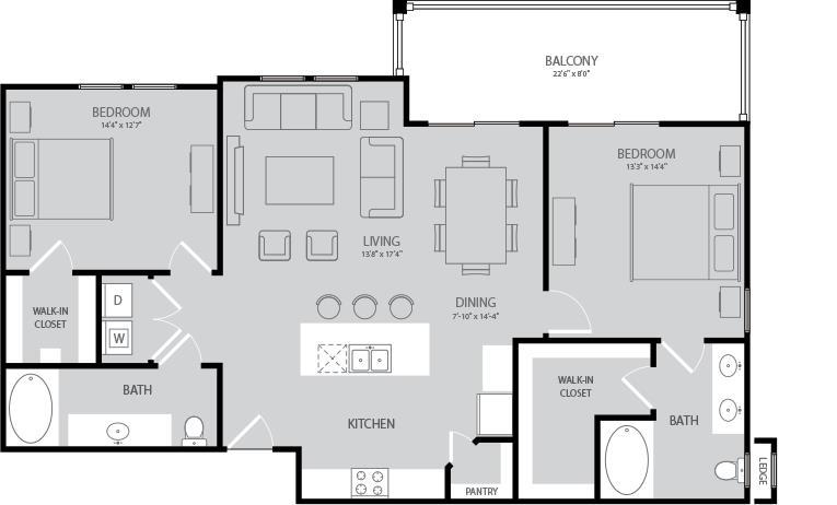 1,249 sq. ft. Poe floor plan