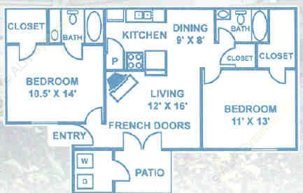 916 sq. ft. B2 floor plan