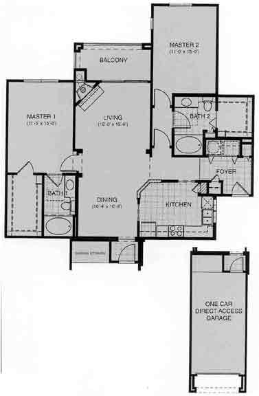 1,260 sq. ft. Baden floor plan